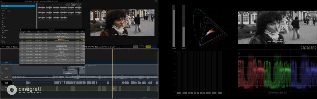 Cinegrell Postfactory | Colorfront Transkoder Timeline