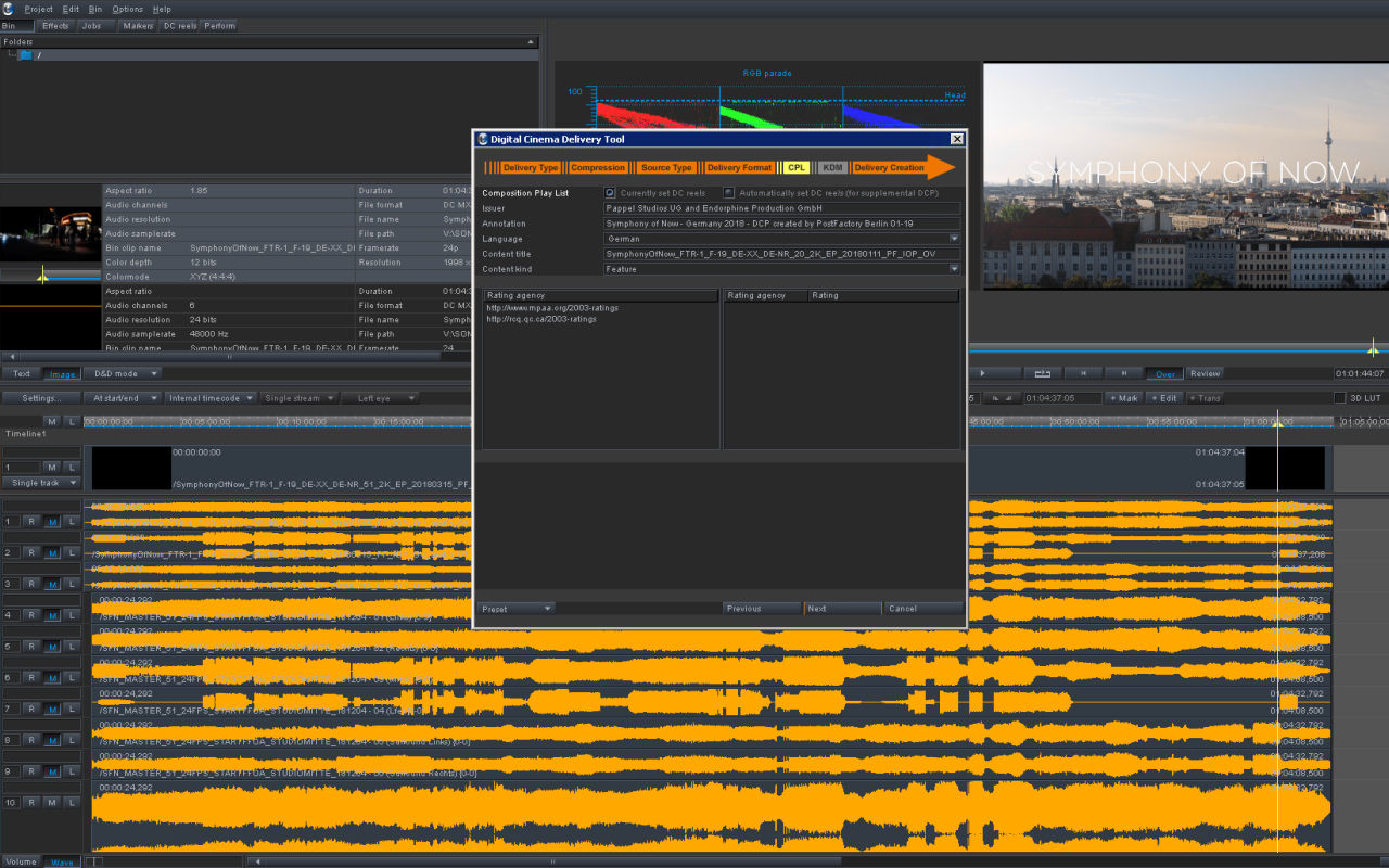 Cinegrell Postfactory | DVS Clipster DCP